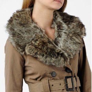GORGEOUS BB Dakota Fur Collar Tan Trench Coat